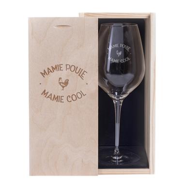 Verre à vin et Coffret Mamie Poule Mamie Cool