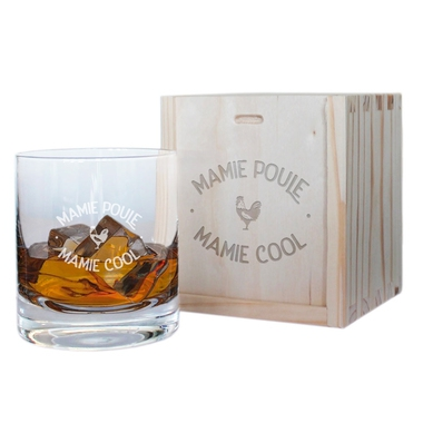 Verre à whisky et son coffret Mamie Poule Cool