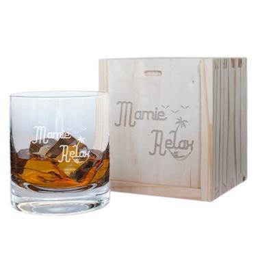 Verre à whisky et son coffret Mamie Relax