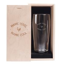 Verre à bière et son coffret Mamie Poule Cool