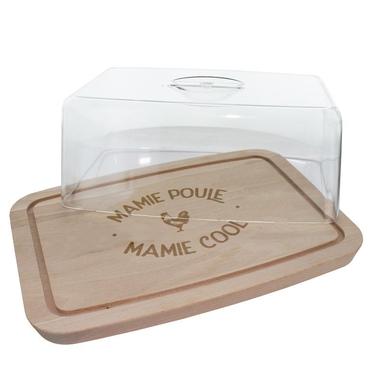 Plateau à fromages avec cloche Mamie Poule Cool